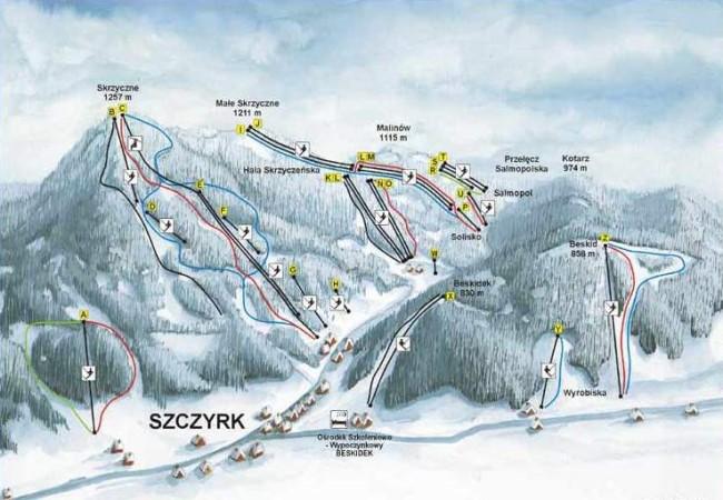 Схема горнолыжных трасс в Щирке