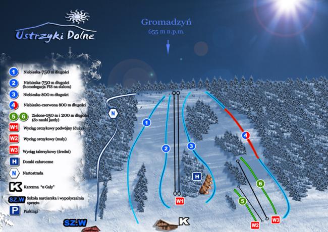 Трассы горнолыжного курорта  Устрики Дольни