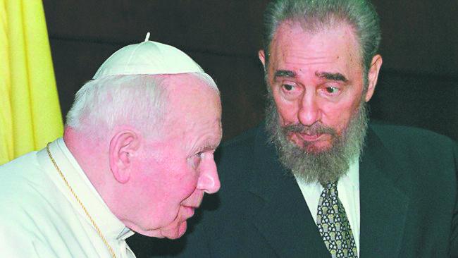 Папа Римский Иоанн Павел II и Фидель Кастро