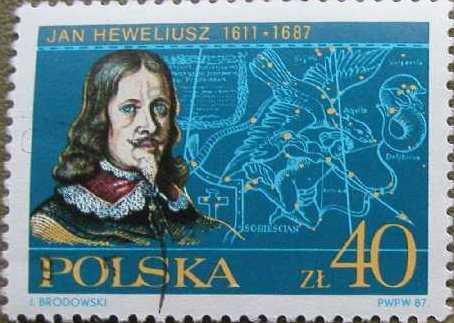 Марка с изображением Яна Гевелия