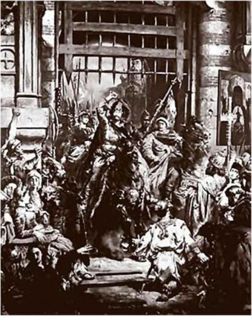Болеслав Храбрый и его зять , сын Владимира Святославича, Святополк