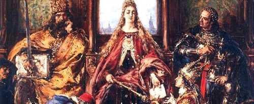 Король Казимир с королевой Ядвигой и своим советчиком