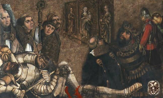 Молодой князь Болеслав Кривоустый вместе со своим гетманом краковским